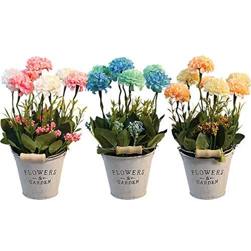 HOTLIKE Flores Artificiales Decoración, 3Pcs Plantas Artificiales de Maceta, Mini Artificiales Plastico Decorativas Plantas...