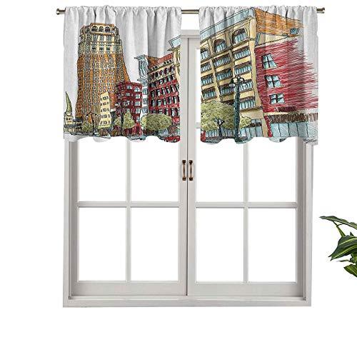 Hiiiman Cenefa de cortina opaca con bolsillo para barra, diseño de avenida europea, vida urbana moderna, centro de ciudad, juego de 2, 106,7 x 60,9 cm, tratamiento para ventanas para sala de estar