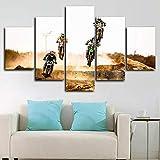 Cuadro en Lienzo Impresión de 5 Piezas Impresión Artística Imagen Gráfica Decoracion de Pared Dirt Motocross Desert Carrera Bicicletas Enmarcado