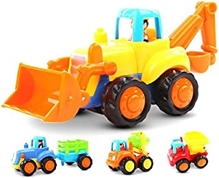 Juego de 4 juguetes de vehículos de construcción con motor de fricción, tractor, bulldozer, camión mezclador de cemento, bombeo con parte trasera de dibujos animados, para 2 niños de 3 años