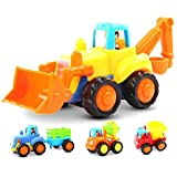 GoStock Friction Powered Cars Push and Go Construction Vehicles Toys Set of 4 Tractor,Bulldozer,Cement Mixer...