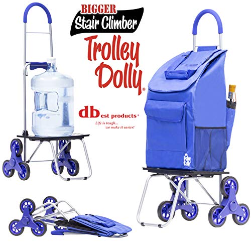 dbest products Stair Climber Bigger Trolley Dolly, Blue Shopping Grocery Foldable Cart Condo...