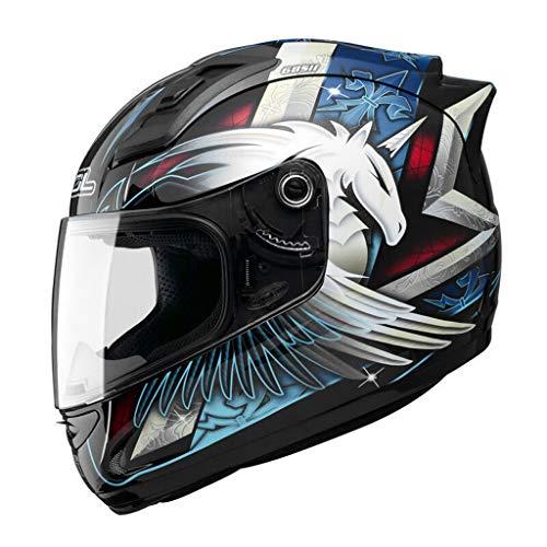 Casque moto hommes et femmes casque intégral de locomotive quatre saisons casque de course kart casque de course (Couleur : A-Xxl61-62cm)