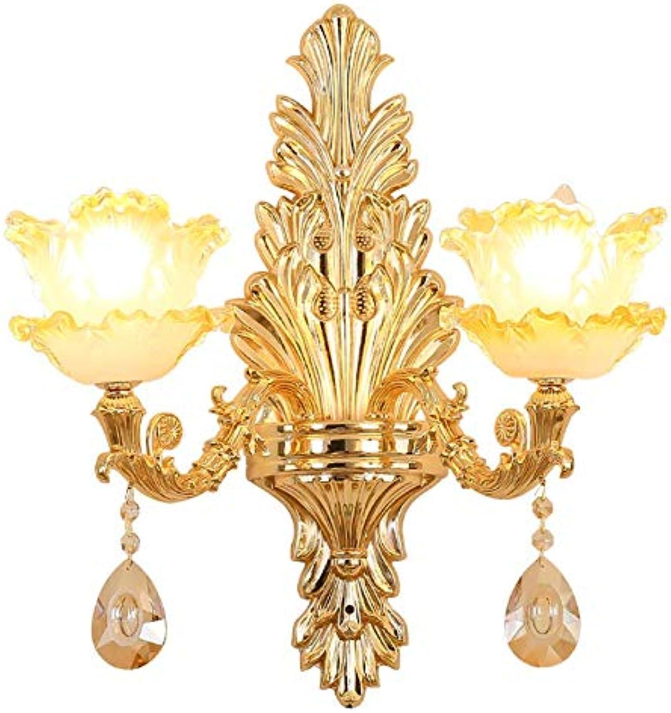 MZ European Wall Lamp, Luxurious Crystal Fashion Zinc Alloy Double Head Wall Lampe, geeignet für Schlafzimmer, Wohnzimmer, Speisesaal (Zwei Kpfe)