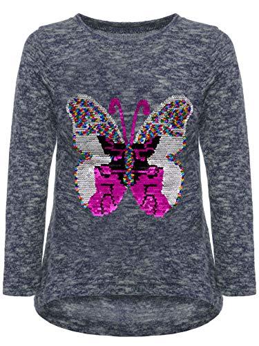 BEZLIT Mädchen Kinder Pullover Wende Pailletten Schmetterling Meliert Langarm 22854 Blau 98