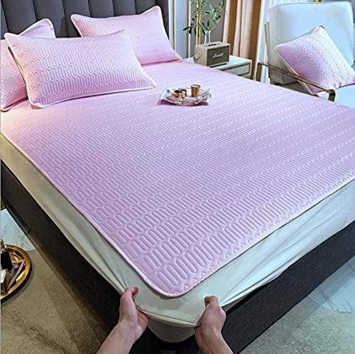 Sábana ajustable para cama de verano,alfombrillas de látex de seda funda de almohada,juego de sábanas lavables para dormitorio de estudiantes,juego de sábanas Queen individuales-A_150X200(3pcs)