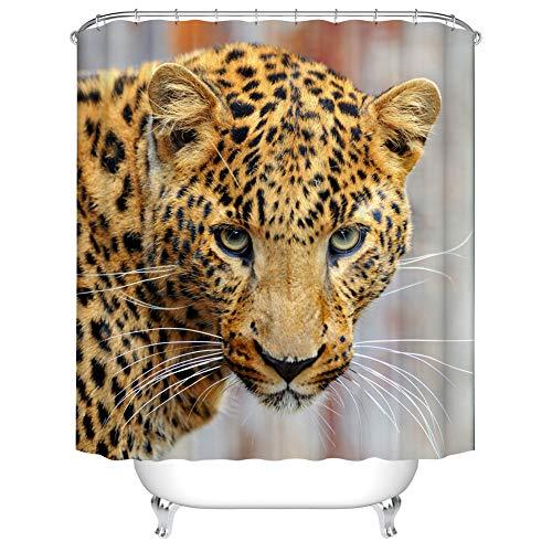 Fangkun Animal Theme Dekor Duschvorhang Set – Leopard 3D Druck Art Badvorhänge – Polyester Stoff wasserdichte Gardinen – 12 Stück Duschhaken – 182,9 x 182,9 cm