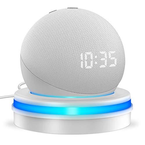 Cocoda Soporte Mesa para Echo Dot 4.ª Generación, Inteligente Soporte Dot 4 con el Escritorio con Guarda Cable Integrado y Guía de Luz en Forma de Anillo, Haga Que el Echo Dot Sea Más Notable