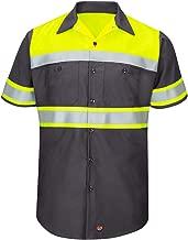 Red Kap Men's Hi-vis Ss Colorblock Ripstop Work Shirt-Type O, Class 1