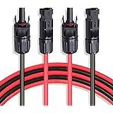 10AWGソーラー延長ケーブルワイヤ6m、20FT赤+黒10AWG(6mm²)ペア、MC4-メスおよびオスコネクタ付きソーラーパネルアダプタケーブル