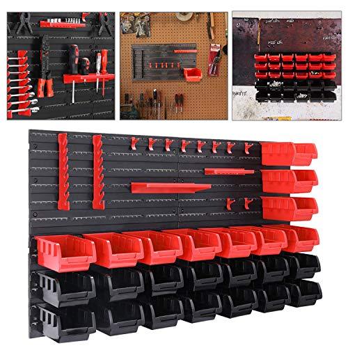 Hengda Wandregal mit Stapelboxen und Werkzeughalter, 28 TLG Box, Schüttenregal, Extra Starke, Erweiterbar, Werkstatt, Hängeregal, Kleinteilemagazin
