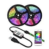 ZHUSHI Luz LED RGB 1M / 2M / 3M / 4M / 5M con Retroiluminación De TV USB DC 5V 5050 SMD Cinta Flexible Cinta LED Bluetooth App Control Remoto Inteligente (Color : Waterproof, Size : 4M)