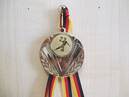 Fanshop Lünen 20 Stück Medaillen - Handball - aus Stahl 50mm / Gold - inkl. Medaillen-Band - Emblem 25mm - Gold - (e247) -
