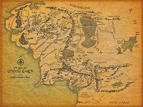 TTXD Puzzle 1000 Piezas Adultos,Mapa del mundo de la Tierra Media El señor de los anillos,Rompecabezas de Madera,Juguetes intelectuales,desafiante Rompecabezas para Adultos y Adolescentes 50x75cm