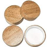 Wooden Mason Jar Lids - 4 Mason Jar Lids Wide Mouth (Rubberwood) - Custom Molded Screw Top Mason Jar Lid Set Compatible Storage Lids for Kerr and Ball Jar Lids by Kitchen Charisma