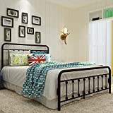 Sanest Classic Reinforced/Metal Bed Frame Queen Size/No Box Spring Needed/Platform with Vintage Headboard and Footboard/Sturdy Metal Frame/Premium Steel Slat Support