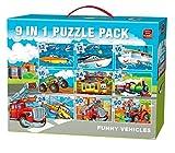 King Funny Vehicles 9in1 Vol 1 Puzzle - Rompecabezas (Puzzle rompecabezas, Dibujos, Niños, Niño/niña, 3 año(s), Cartón) , color/modelo surtido