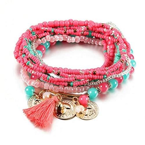 Vrouwen Boheemse Sieraden Multilayer Elastische Set Armbanden Bangles Met Kwastje Gouden Munt Glas Kralen Bedel Wikkel Armband Femme Gift