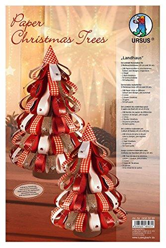 Ursus 24320099 - Designstreifen Paper Christmas Trees Landhaus