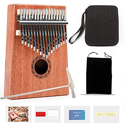 JDR Kalimba Thumb Piano 17 Keys,Portable Finger Piano mbira Instruments with Instruction Book Tune Hammer for Kids and Adults Beginners