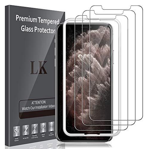 LK Panzerglas Schutzfolie kompatibel mit iPhone X, 5.8 Zoll, 3 Stück, 9H Härte Panzerglasfolie, HD Klar Displayschutzfolie, [Anti-Kratzen] [Blasenfrei] [Einfacher Montage]