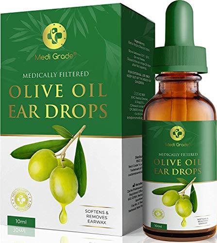 Medi Grade Gotas para Oídos de Aceite de Oliva Virgen Extra - Botella de 10 ml - 100% Grado Médico - Ablanda y Elimina la Acumulación de Cerumen Oído - Uso con el Limpiador de Oídos - Alivio Rápido