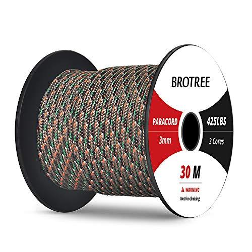 Brotree 3mm Paracord Nylon Seil mit 3 Strängen Fallschirmschnur Reißfestem Kernmantel Seil (Standard, Reflektierende)