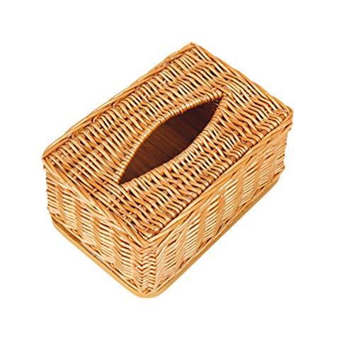 Cabilock Caja de Pañuelos de Mimbre Tejida Retro Rectangular de Ratán Caja de Pañuelos Decorativos Caja de Servilleta Contenedor de Papel para El Hogar Cocina Oficina