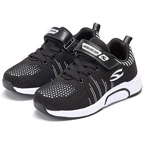 WateLves Laufschuhe Kinder rutschfest Schuhe Turnschuhe Atmungsaktiv Outdoor Sportschuhe Klettverschluss für Jungen Mädchen(H-Schwarz,31 EU)