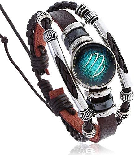 Gymqian Luminous 12 Constellation Cowhide Bracelet Beaded Starry Birthday Gift 12 Constellation Bracelet-Virgo Daily wear