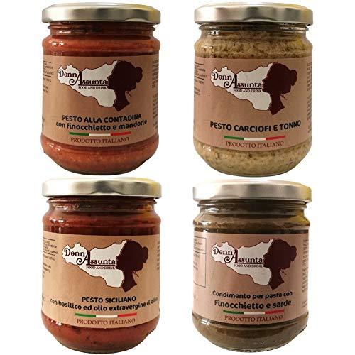 DonnAssunta Condimento per pasta 4pz – Ingredienti tipici Siciliani – 100% Italiano Pesto alla contadina, Pesto Siciliano – sughi pasta finocchietto e sarde, Carciofi e tonno
