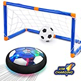 CUKU Kids Toy,Hover Soccer Ball Toys for 3 4 5 6 7 8-16 Years Old Boy Girl , 2 Goals and Inflatable Ball,Indoor Floating Soccer with LED Light and Safe Bumper(No AA Batteries Needed)