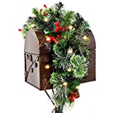 FUNARTY 28in Christmas Mailbox Swag with Wintry NES Berries and 30 Battery Operated LED Lights for Christmas Home Decor