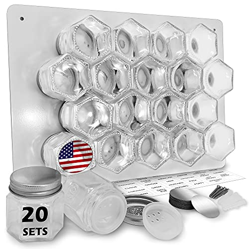 Magnetic Spice Jars Empty Small Hexagon Glass Spice Jars 20 Sets with Magnetic Lids, Shaker, Magnetic Board, Spice Labels DIY Spice Tins Magnetic Spice Rack for Refrigerator Fridge Cabinet Wall mount