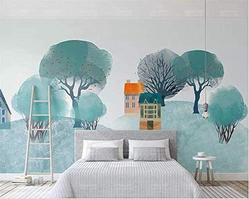 Mural de arte abstracto moderno papel tapiz 3D tridimensional árbol de flores blancas sala de estar dormitorio Fondo pegatina de pared Mural-350x210cm