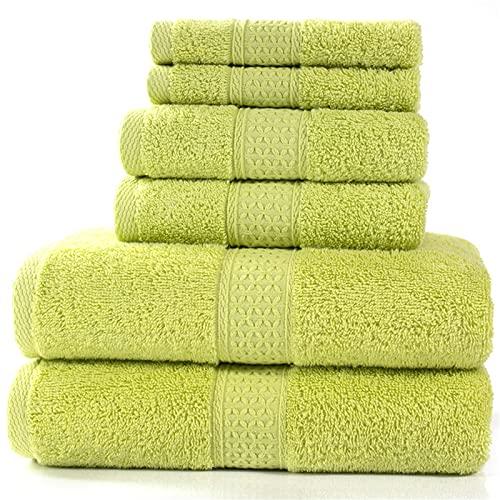 Juego de Toallas de algodón Peinado,, 2 Toallas de baño (70 x 140 cm), 2 Toallas de Mano (33 X 33 cm), 2 Toallas (34 x 75 cm).Adecuado para Varias Ocasiones-Grass Cyan