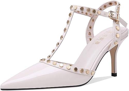 Brilliant firm Sandales Sandales Sandales pour Femmes Talons Hauts Rivets d'été Talons Hauts Chaussures pour Femmes à Talon Aiguille de 6,5 cm très Bonne qualité Chaussures Non fatiguées (Couleur   Blanc, Taille   36) 71f