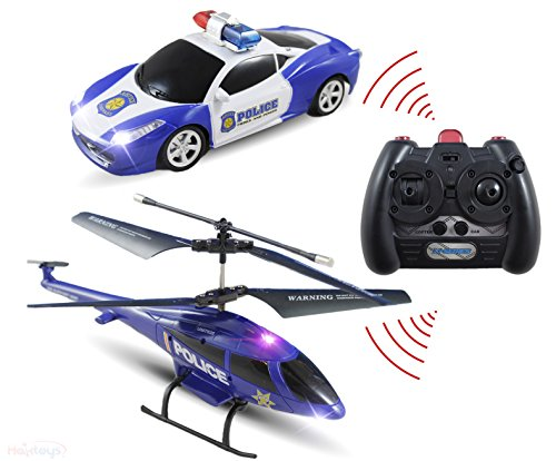 Haktoys ATS HAK329/S339 Mini 3.5 Channel Enforcement Team Police RC Helicopter and RC Car Set with Gyroscope and Flashing LED Lights | Ready to Fly and Drive | RC Hobby Toy for Kids, Teens and Adults