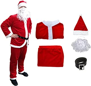 Christmas Santa Claus Suit, Adult Men's Santa Costume Beard, Xmas Classic Flannel Cosplay Clothes