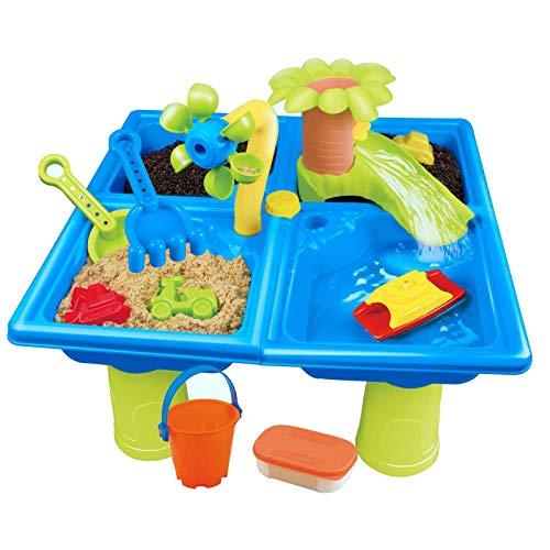 Kids Sand Table, Spelen Sand Kit voor Kinderen met Cover Watertafel - Zand & Watertafel voor Peuter Sandbox Activiteit Tafel met Cover Zand Tafel Sensory Tafel Beach Speelgoed Voor Kinderen Speel