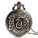 Harry Potter Salazar Slytherin - Reloj de bolsillo de cuarzo para hombre, analógico, con cadena, reloj de bolsillo