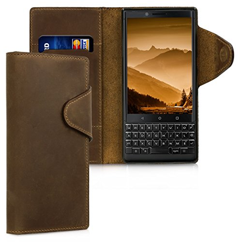 kalibri Hülle kompatibel mit BlackBerry KEYtwo (Key2) - Leder Handyhülle - Handy Wallet Case Cover in Braun