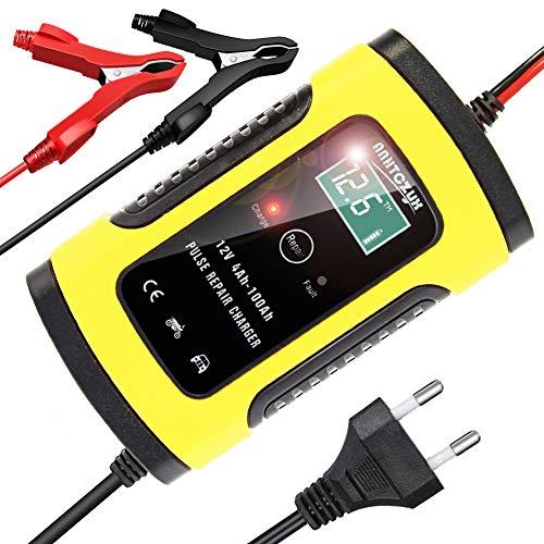 YDBAO Cargador de batería de Coche 6A 12V Inteligente Mantenimiento con Múltiples Protecciones y Pantalla Táctil para ATVs RVs Barco Moto (Amarillo)