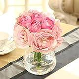 Shirley Commerce Ramo de flores de seda rosas peonía hortensias flores artificiales decoración del hogar, novia, dama de honor decoración de boda (rosa)