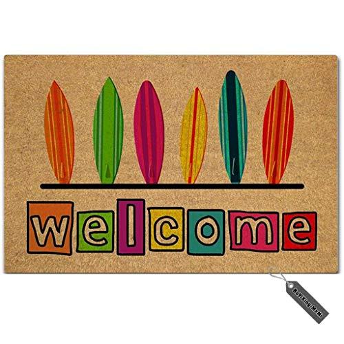 MsMr Felpudo de entrada – divertido felpudo – Tabla de surf de bienvenida para uso en interiores y exteriores, tela no tejida superior de 23.6 x 15.7 pulgadas