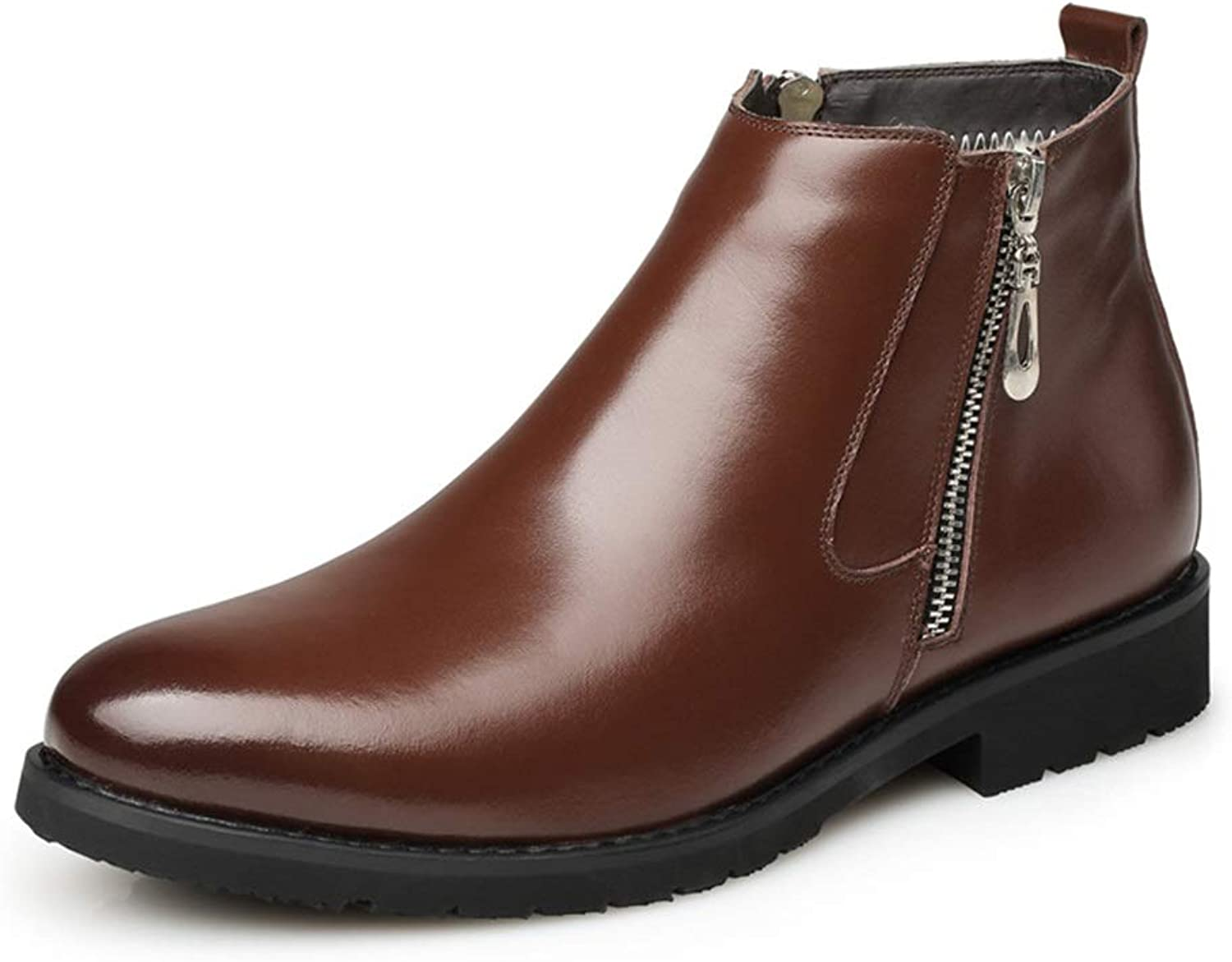 ZHRUI Side Zip Genuine Leather Boots for Men Soft Sole Non Slip Comfort Boots (color   Brown, Size   UK 6.5)