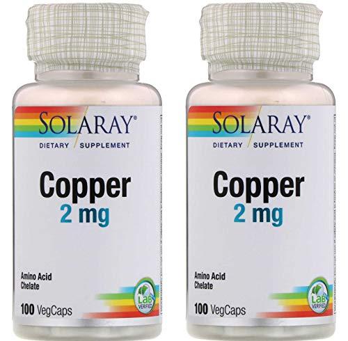 SolaRay Copper 2 Milligrams Amino Acid Chelate Dietary Supplement (100 VegCaps) Pack of 2