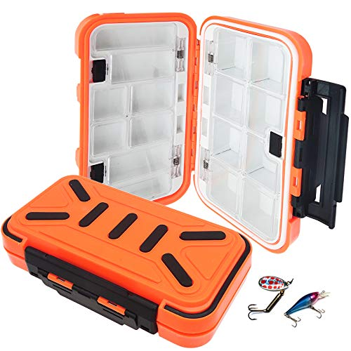 Bakiauli Angeln Lure Box,Wasserbeständigkeit Kunststoff Angelkasten,für Professionelle Angel Zubehör (5 * 11 * 20cm/Orange