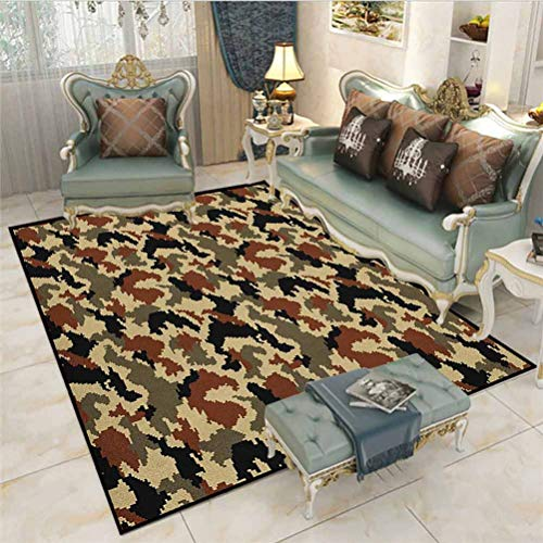 Camouflage Children Play Dormitory Home Decor Rug Pixel Art Style Blending in Environment Pattern Abstract Fashion Design Outdoor Carpet Brown Black Sepia 3 x 5 Ft