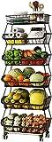 6 Tier Stackable Storage Baskets,Metal Wire Market Basket Rolling Fruit Vegetable Baskets Organizer Storage Bin with Wheels for Pantry Closet,Bathroom